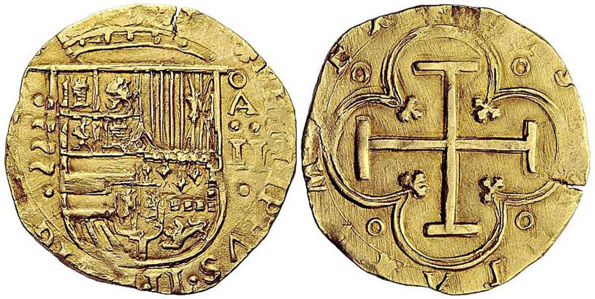 2 Escudos, Valladolid (ND - 1593) - Portal Fuenterrebollo Felipe Ii