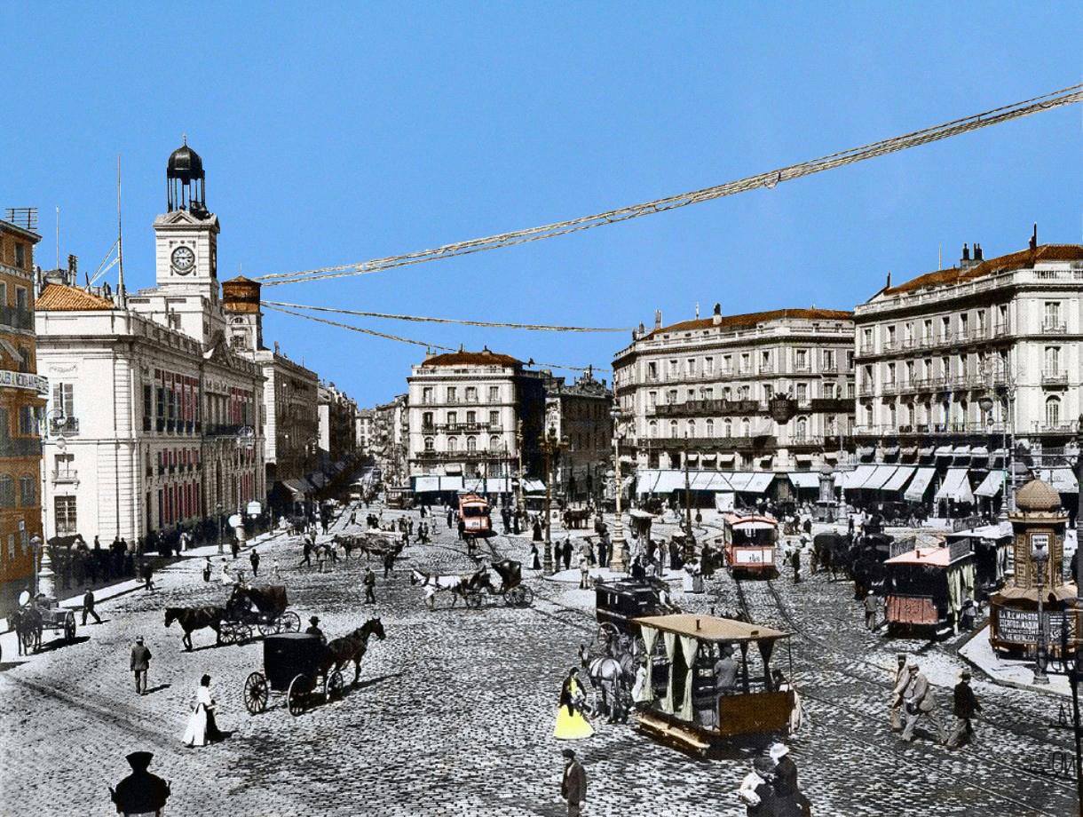 Madrid antiguo color portal fuenterrebollo for Puerta del sol gran via